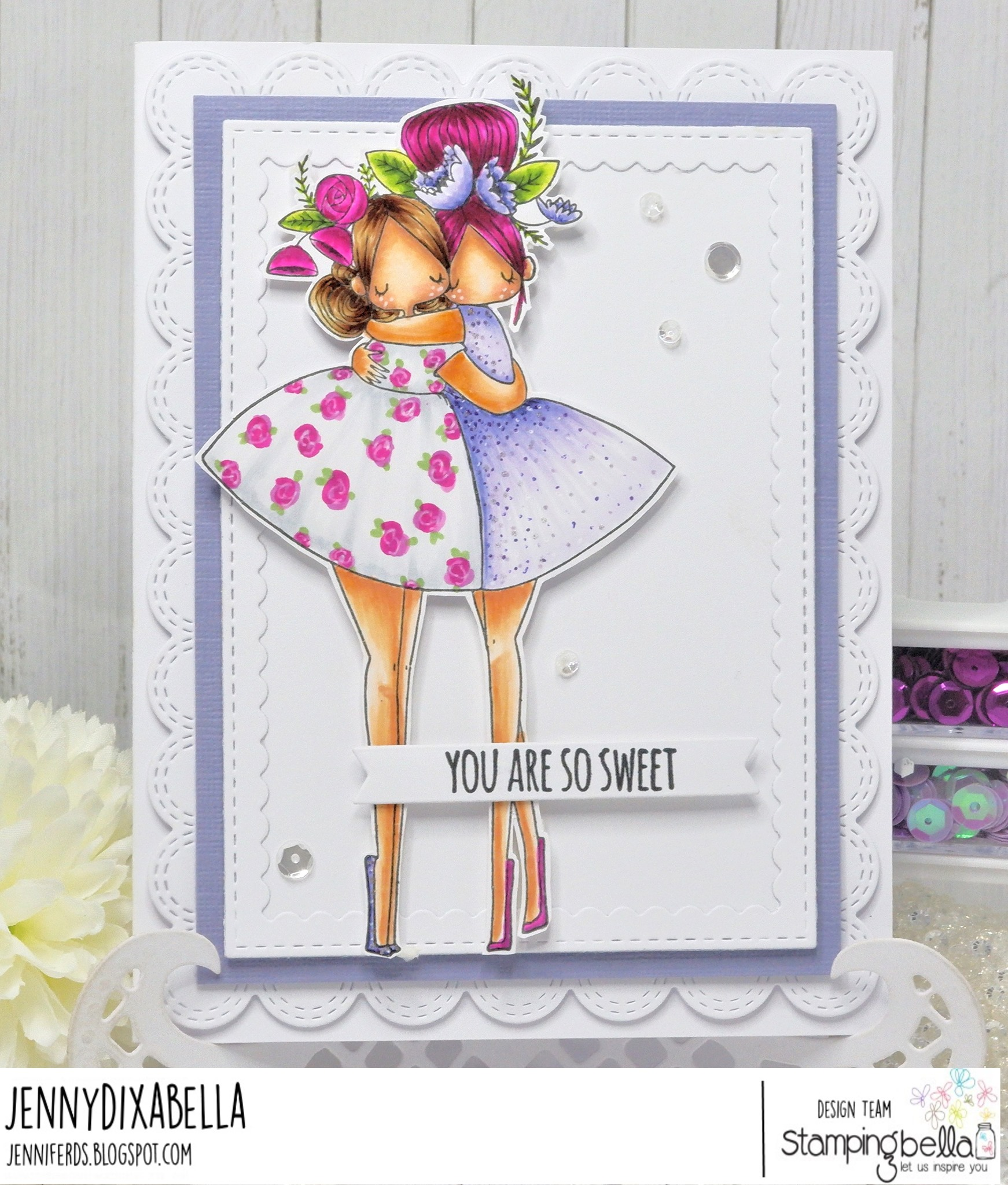 www.stampingbella.com: rubber stamp used:  CURVY GIRL BEST FRIENDS card by Jenny Dix