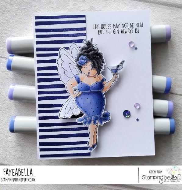 www.stampingbella.com: rubber stamp used: EDNA NEEDS A MARTINI card by Faye Wynn Jones