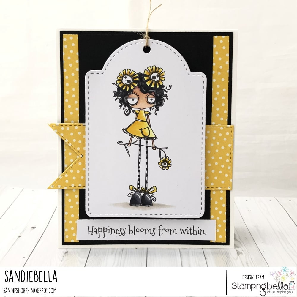 www.stampingbella.com: rubber stamp used: LONG STEMMED ODDBALL card by SANDIE DUNNE