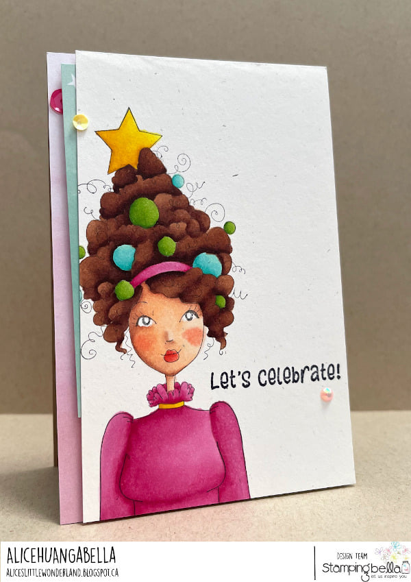 www.stampingbella.com: rubber stamp used: MOCHI CHRISTMAS GIRL.  card by  Alice Huang