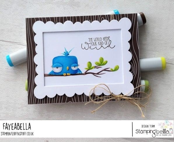 www.stampingbella.com: rubber stamp used:ODDBALL BIRD SET card by FAYE WYNN JONES