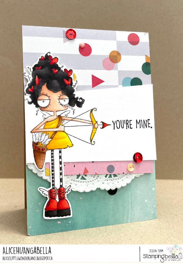 www.stampingbella.com: rubber stamp used: ODDBALL CUPID card by Alice Huang