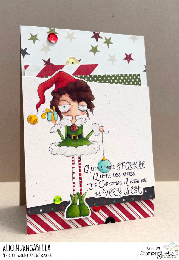 www.stampingbella.com: rubber stamp used: ODDBALL GIRL ELF  card by Alice Huang