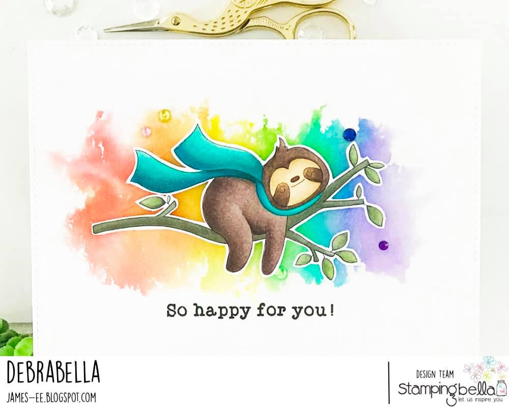 www.stampingbella.com: rubber stamp used: SLOTH ON A BRANCH.  card by Debra James