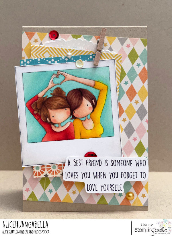 www.stampingbella.com: rubber stamp used:  UPTOWN GIRL SNAPSHOTS I HEART YOU card by ALICE HUANG