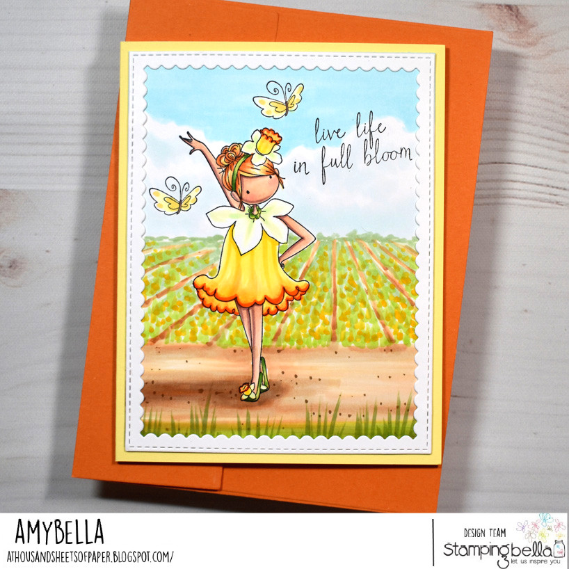 Www.stampingbella.com rubber stamp used: tiny townie garden girl daffodil card by Amy Young
