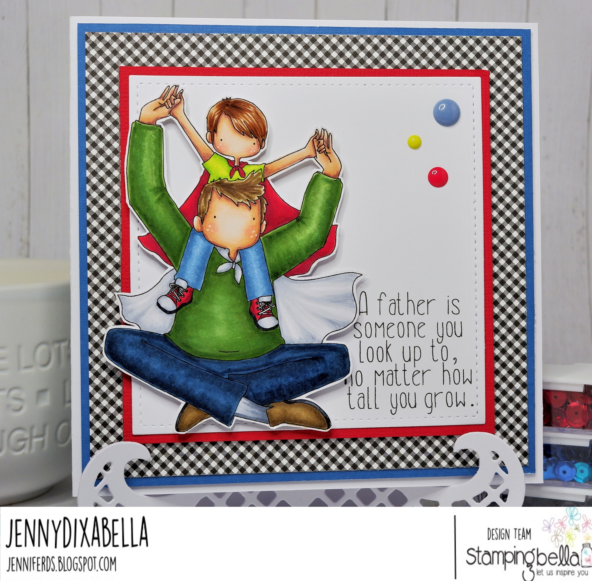 www.stampingbella.com: rubber stamp used : A LITTLE BOY AND HIS HERO card by Jenny Dix