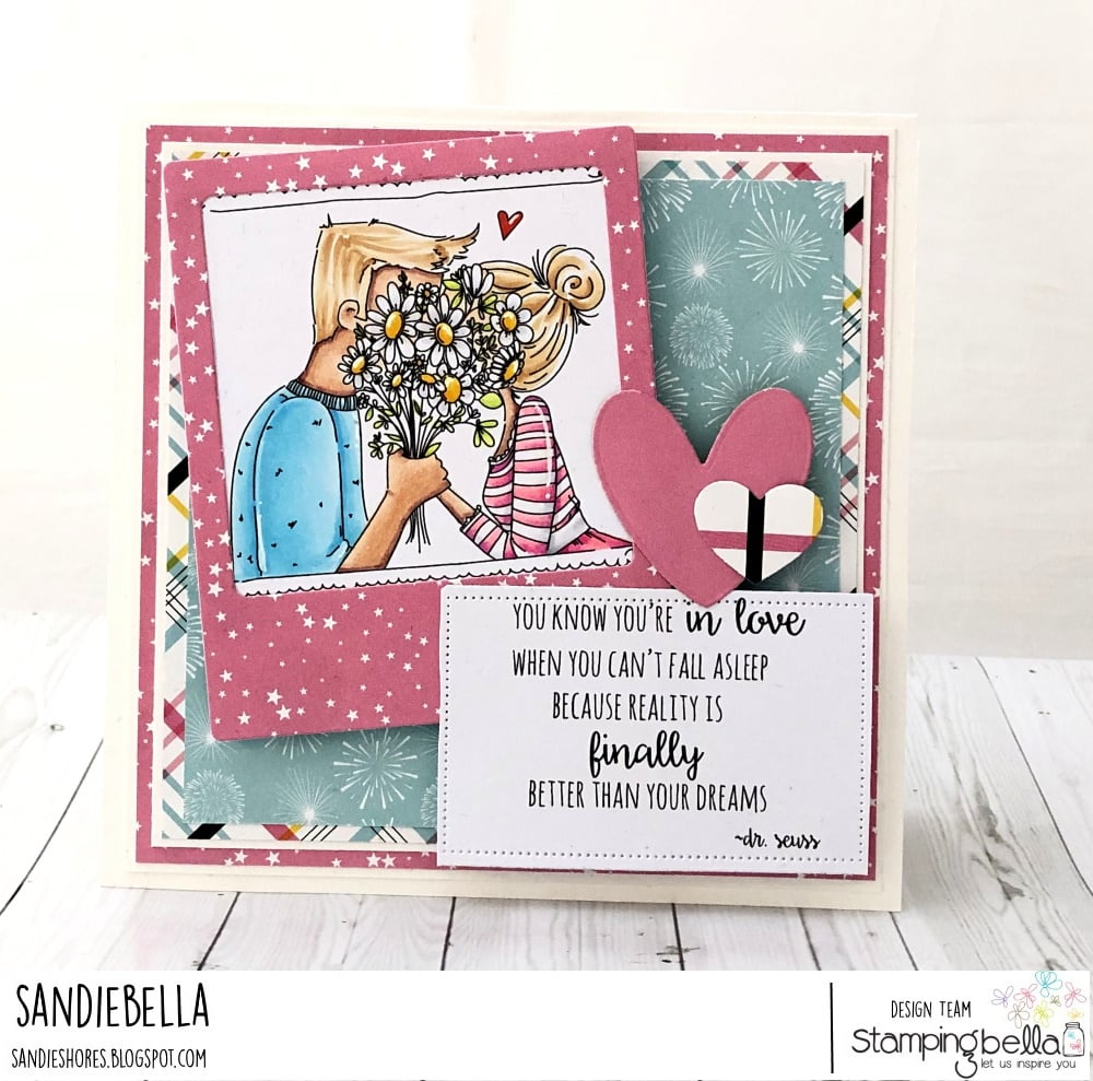 www.stampingbella.com: rubber stamp used: CLOSEUPS IN LOVE card by Sandie Dunne