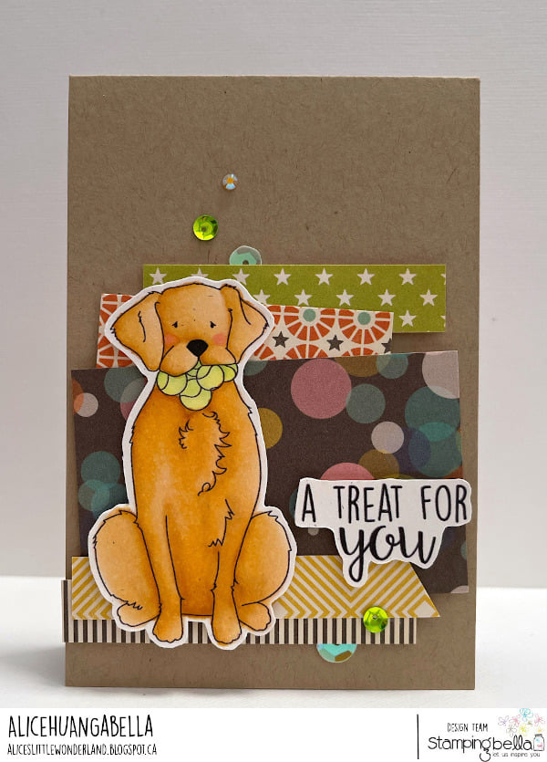 www.stampingbella.com: rubber stamp used: GOLDEN, WOLFHOUND and BULLDOG card by Alice Huang