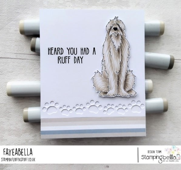 www.stampingbella.com: rubber stamp used: GOLDEN, WOLFHOUND and BULLDOG card by Faye Wynn Jones