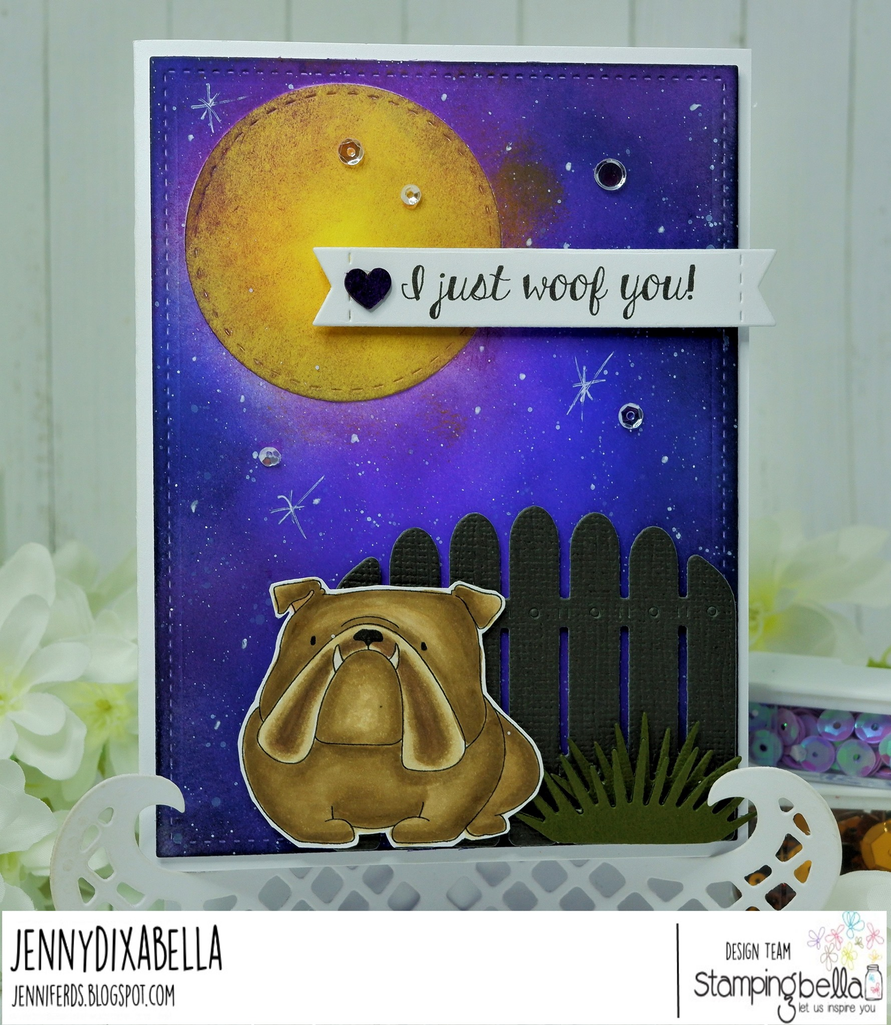 www.stampingbella.com: rubber stamp used: GOLDEN, WOLFHOUND and BULLDOG card by Jenny Dix