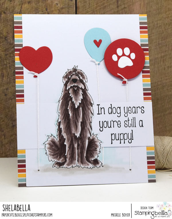 www.stampingbella.com: rubber stamp used: GOLDEN, WOLFHOUND and BULLDOG card by Michele Boyer