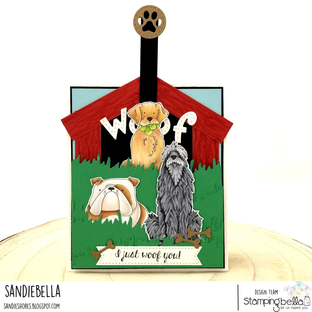 www.stampingbella.com: rubber stamp used: GOLDEN, WOLFHOUND and BULLDOG card by Sandie Dunne