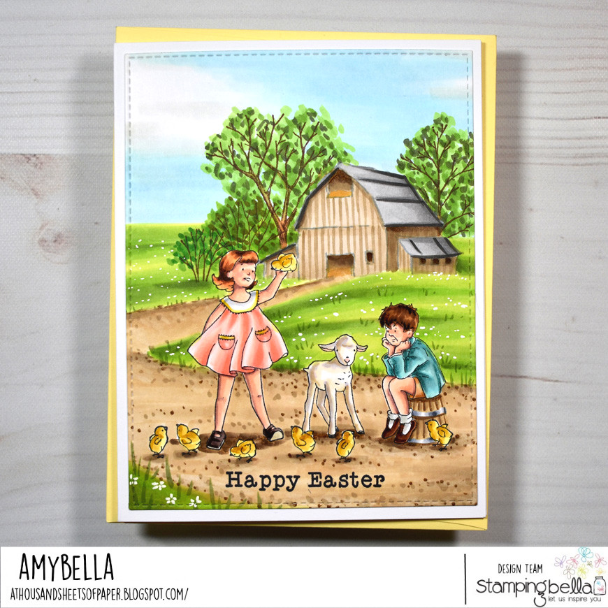 www.stampingbella.com : rubber stamp used EDGAR AND MOLLY VINTAGE COLLECTION card by Amy Young