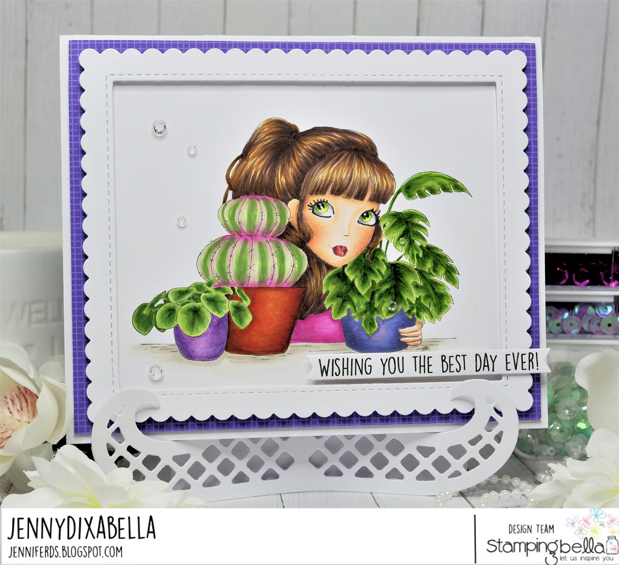 www.stampingbella.com: rubber stamp used MOCHI PLANT GIRL card by Jenny DIX