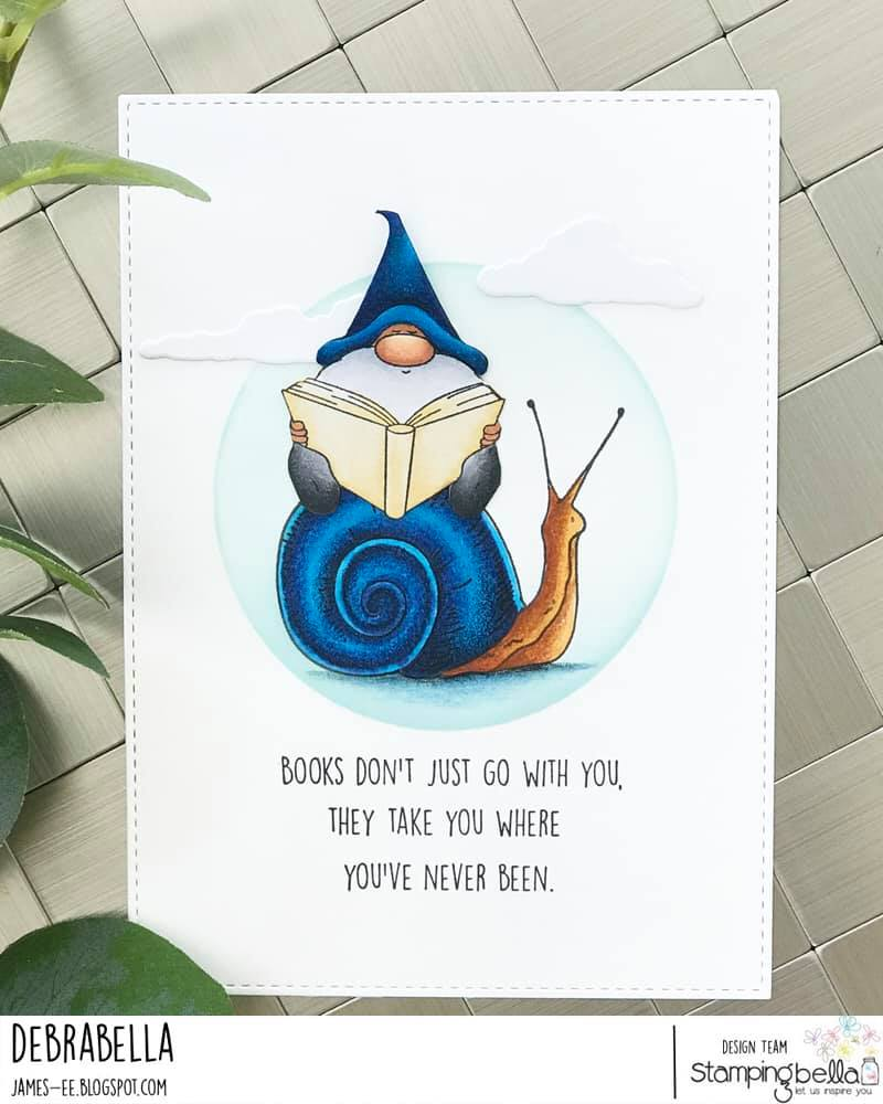 www.stampingbella.com: RUBBER STAMP USED READING GNOME and EDGAR AND MOLLY VINTAGE SNAIL SET card by DEBRA JAMES