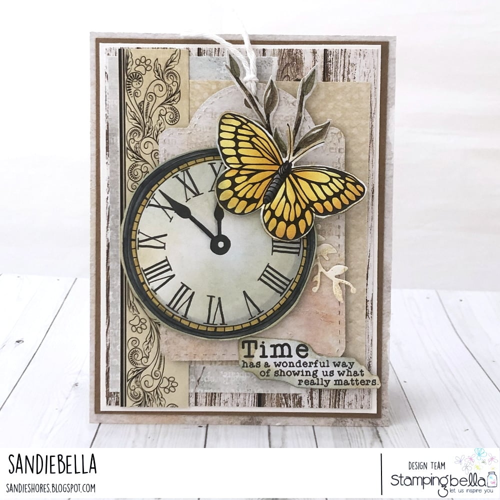 www.stampingbella.com:  rubber stamp used EDGAR AND MOLLY VINTAGE CLOCK COLLECTION card by SANDIE DUNNE