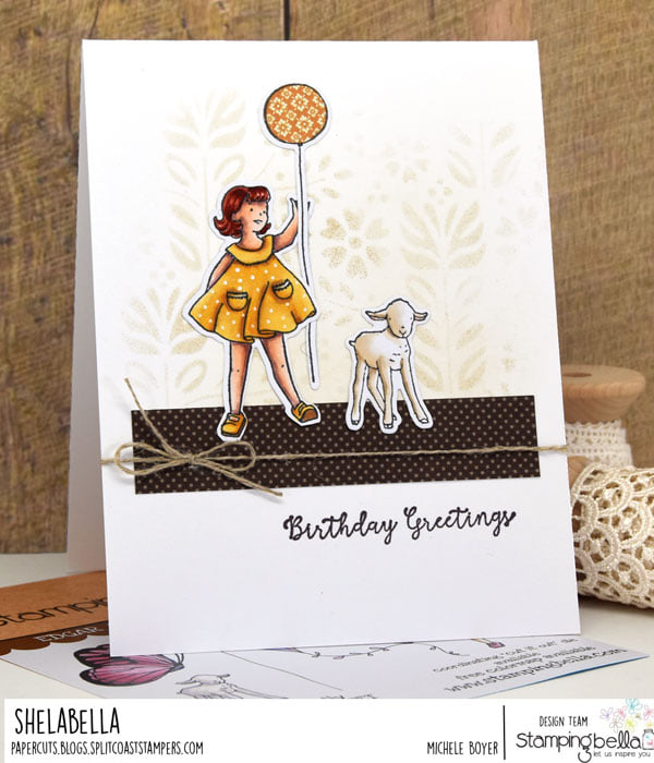 www.stampingbella.com:  rubber stamp used EDGAR AND MOLLY VINTAGE BALLOON SET card by MICHELE BOYER