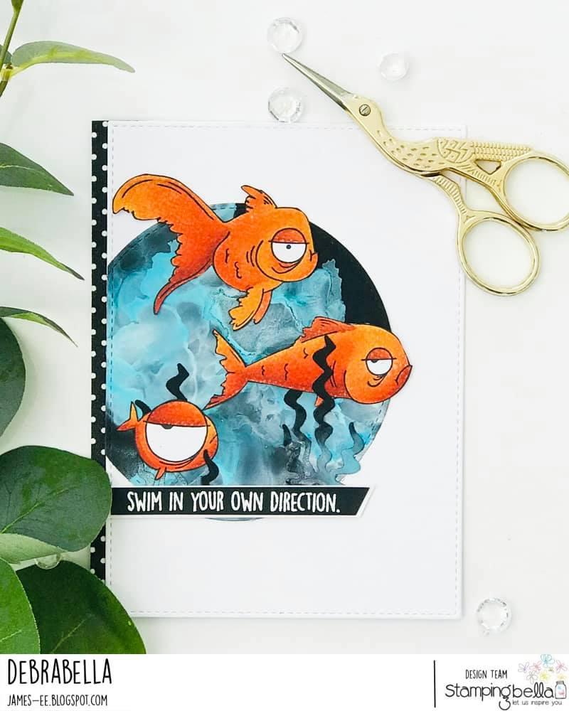 www.stampingbella.com: rubber stamp used ODDBALL FISH SET card by DEBRA JAMES