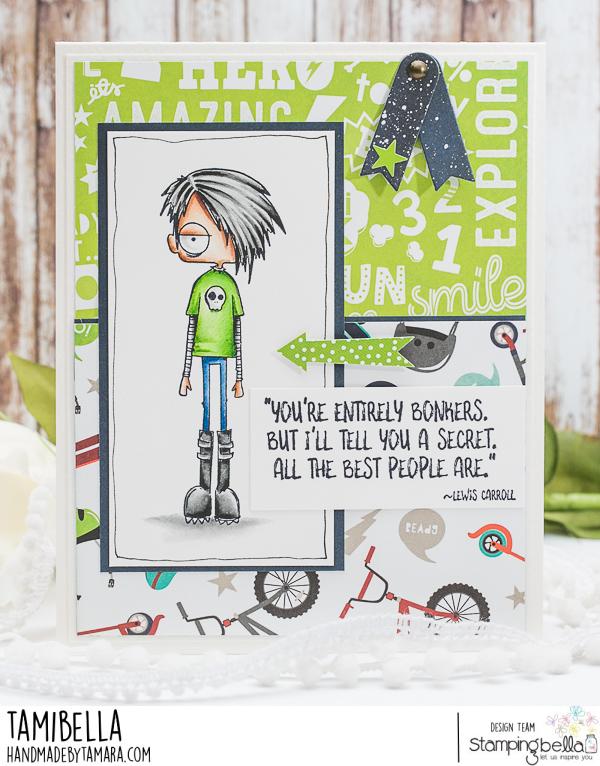 www.stampingbella.com: rubber stamp used: ODDBALL STANDING BOY card by TAMARA POTOCNIK