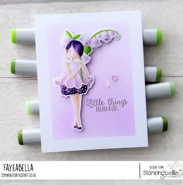 www.stampingbella.com: rubber stamp used TINY TOWNIE GARDEN GIRL LILY OF THE VALLEY, card by FAYE WYNN JONES