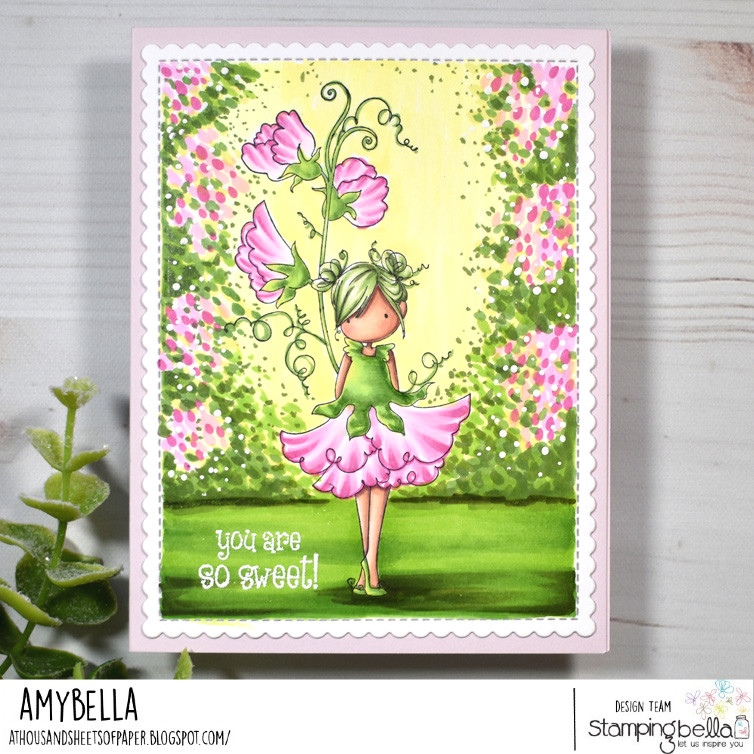 www.stampingbella.com: rubber stamp used: TINY TOWNIE GARDEN GIRL SWEET PEA. card by AMY YOUNG