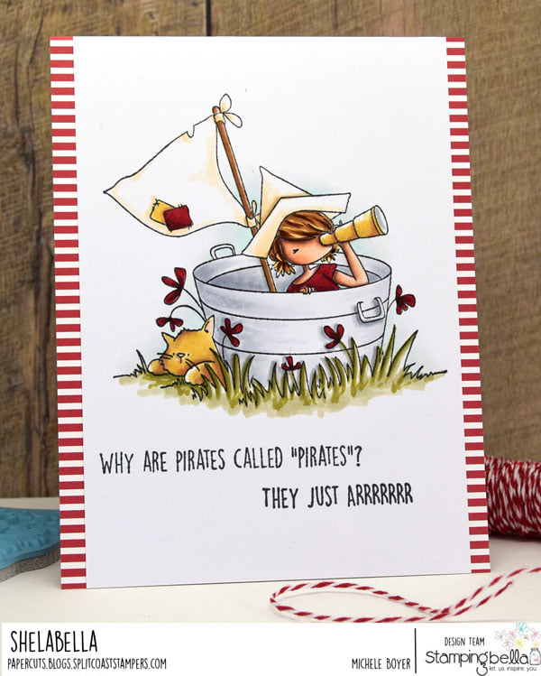 www.stampingbella.com: rubber stamp used TINY TOWNIE PIRATE. card by Michele BOYER