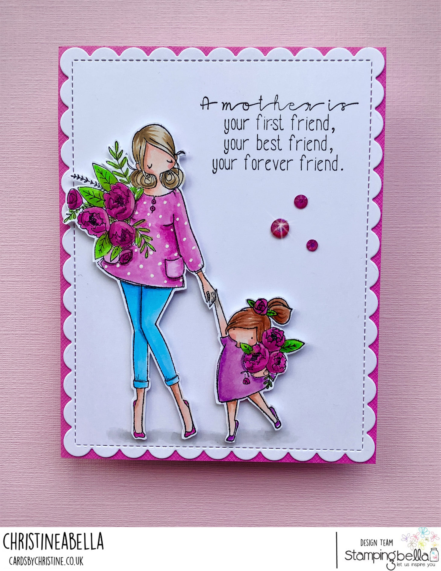 www.stampingbella.com: rubber stamp used CURVY GIRL HOLDING HANDS card by CHRISTINE LEVISON