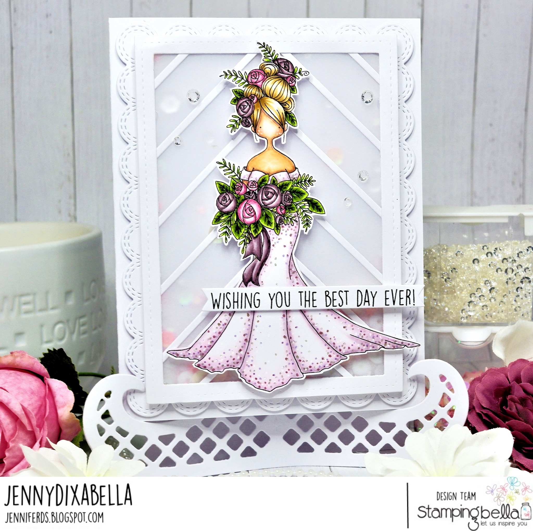 www.stampingbella.com: rubber stamp used UPTOWN GIRL MELINDA the MODERN BRIDE, card by Jenny Dix