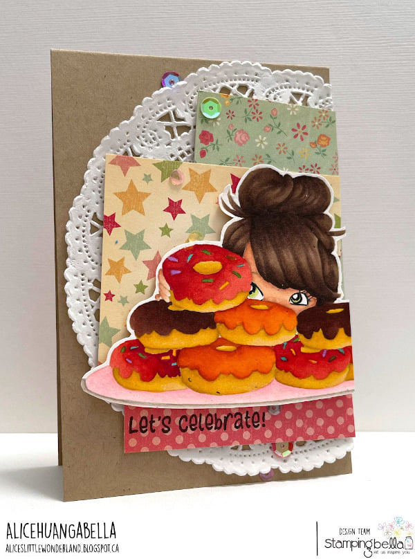 www.stampingbella.com: rubber stamp used: MOCHI DONUT GIRL card by Alice Huang