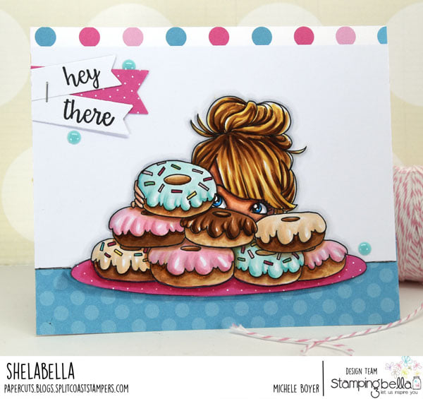 www.stampingbella.com: rubber stamp used: MOCHI DONUT GIRL card by Michele Boyer