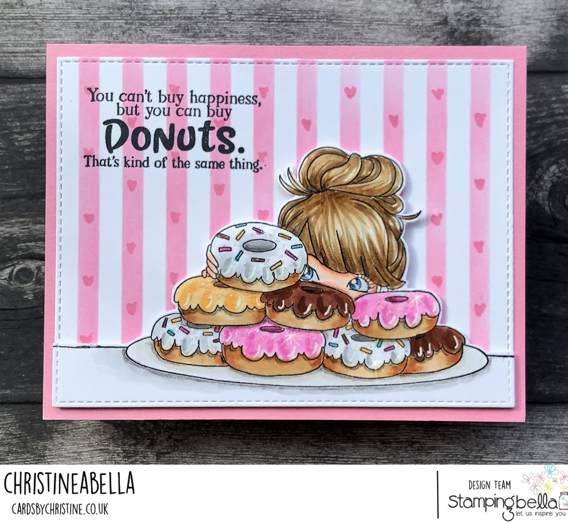 www.stampingbella.com: rubber stamp used: MOCHI DONUT GIRL card by Christine Levison