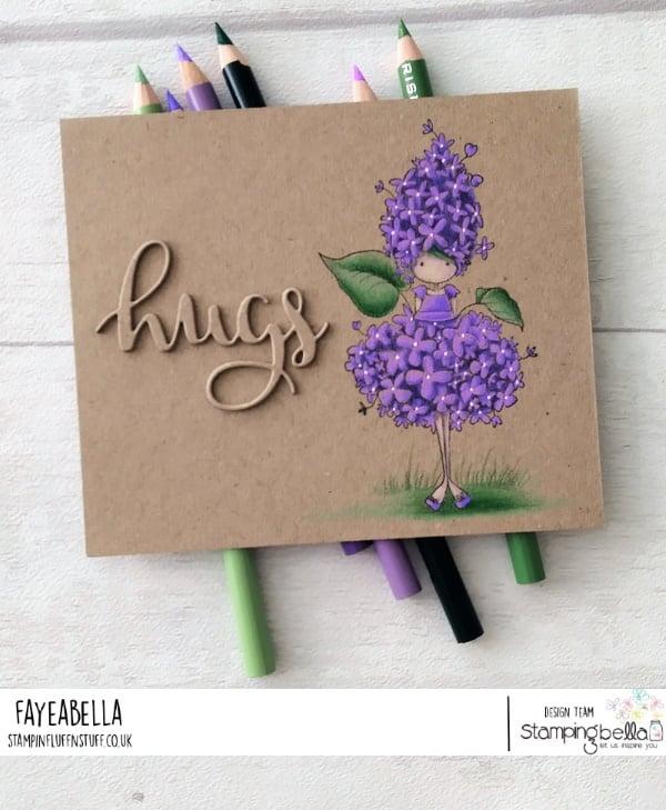 www.stampingbella.com: rubber stamp used TINY TOWNIE GARDEN GIRL LILAC , card by FAYE WYNN JONES
