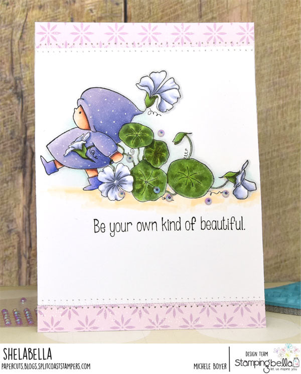 www.stampingbella.com: rubber stamp used: BUNDLE GIRL FLOWER MARCH. card by Michele Boyer
