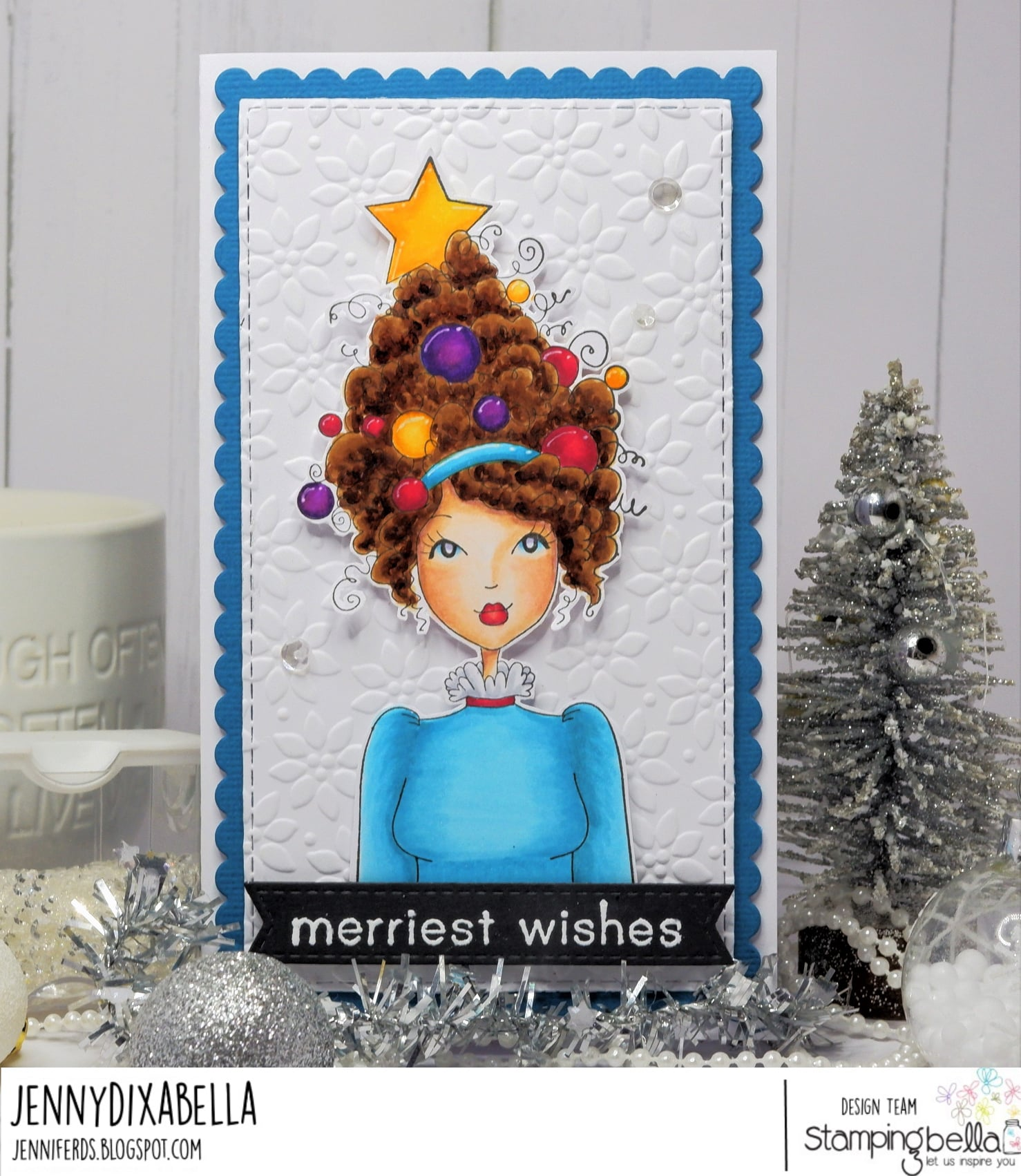 www.stampingbella.com: Rubber stamp used : MOCHI CHRISTMAS GIRL card by JENNY DIX