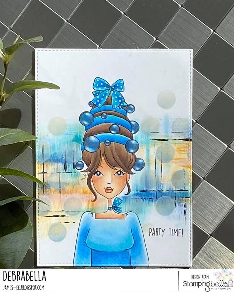 www.stampingbella.com: Rubber stamp used : MOCHI ORNAMENT GIRL card by DEBRA JAMES