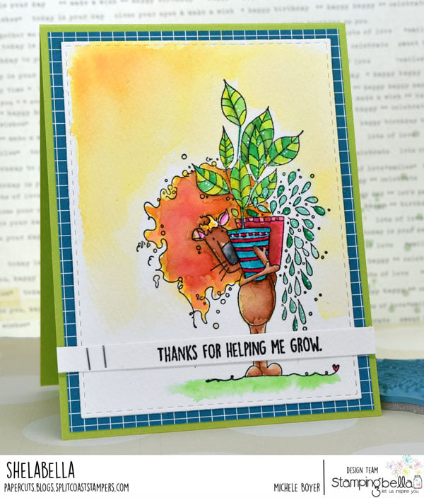 www.stampingbella.com: rubber stamp used PLANTY DANDY card by Michele Boyer