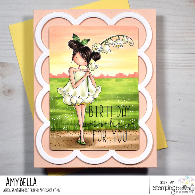 www.stampingbella.com: rubber stamp used: TINY TOWNIE GARDEN GIRL LILY OF THE VALLEY, card by AMY YOUNG