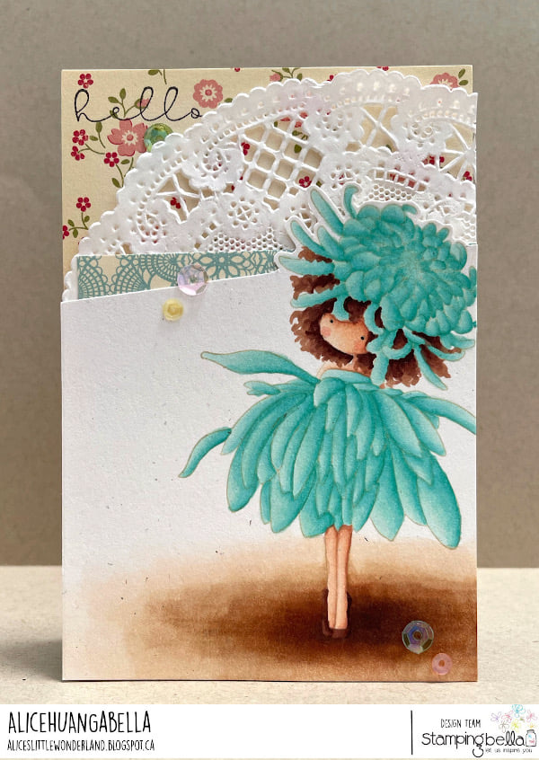 www.stampingbella.com: rubber stamp used TINY TOWNIE GARDEN GIRL CHRYSANTHEMUM  card by ALICE HUANG
