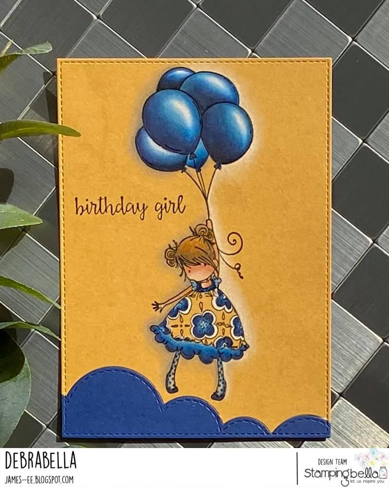 www.stampingbella.com: rubber stamp used TINY TOWNIE BLOSSOM card by Debra JAMES
