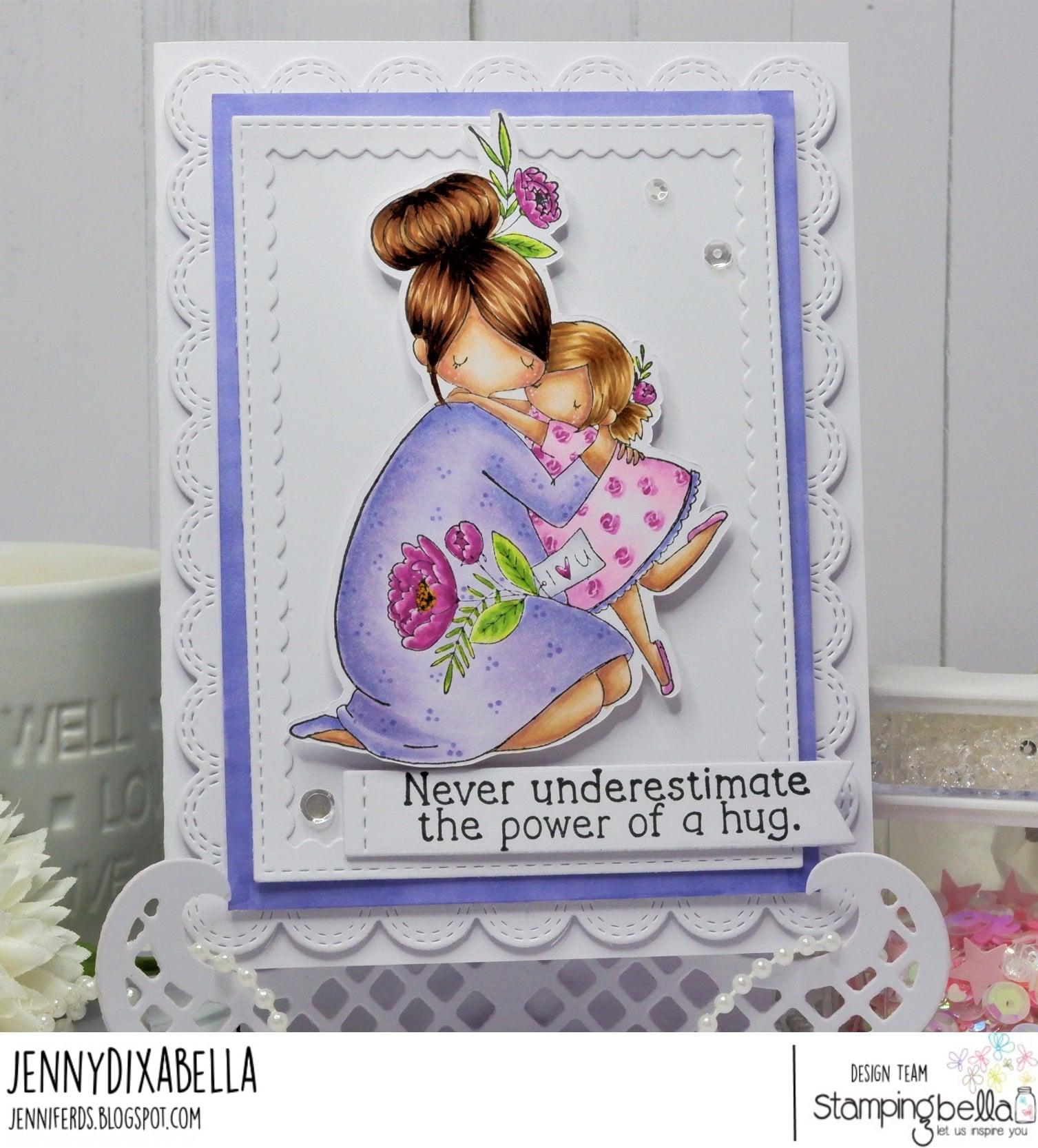 www.stampingbella.com: rubber stamp used CURVY GIRL BIG HUG. card by JENNY DIX