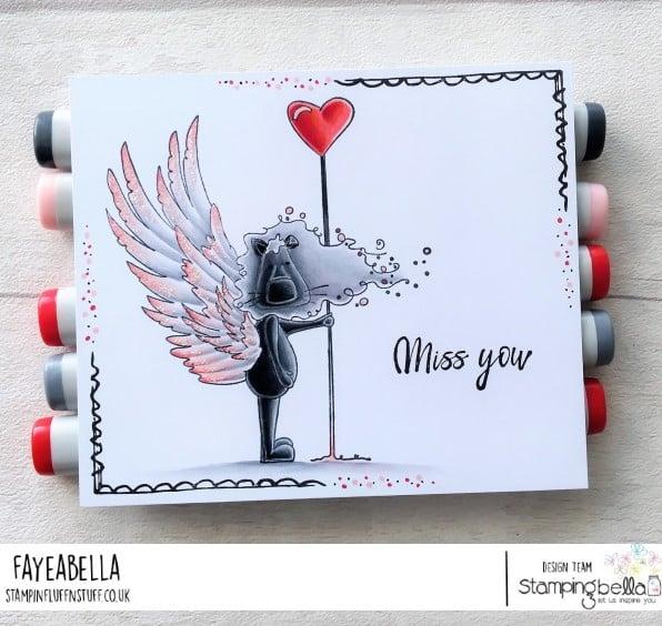 www.stampingbella.com: rubber stamp used DANDYLION PROTECTOR OF HEARTS card by Faye Wynn Jones