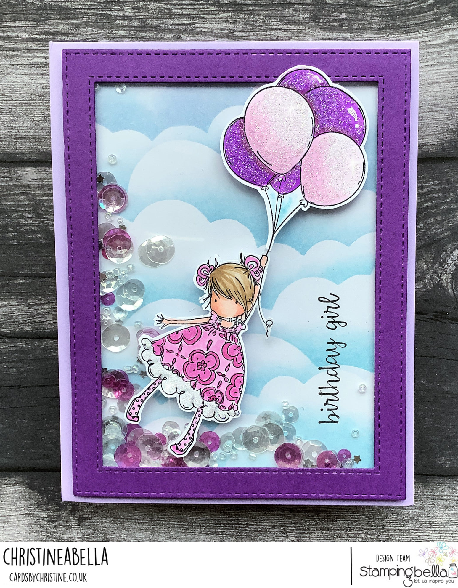 www.stampingbella.com: rubber stamp used TINY TOWNIE BLOSSOM card by CHRISTINE LEVISON