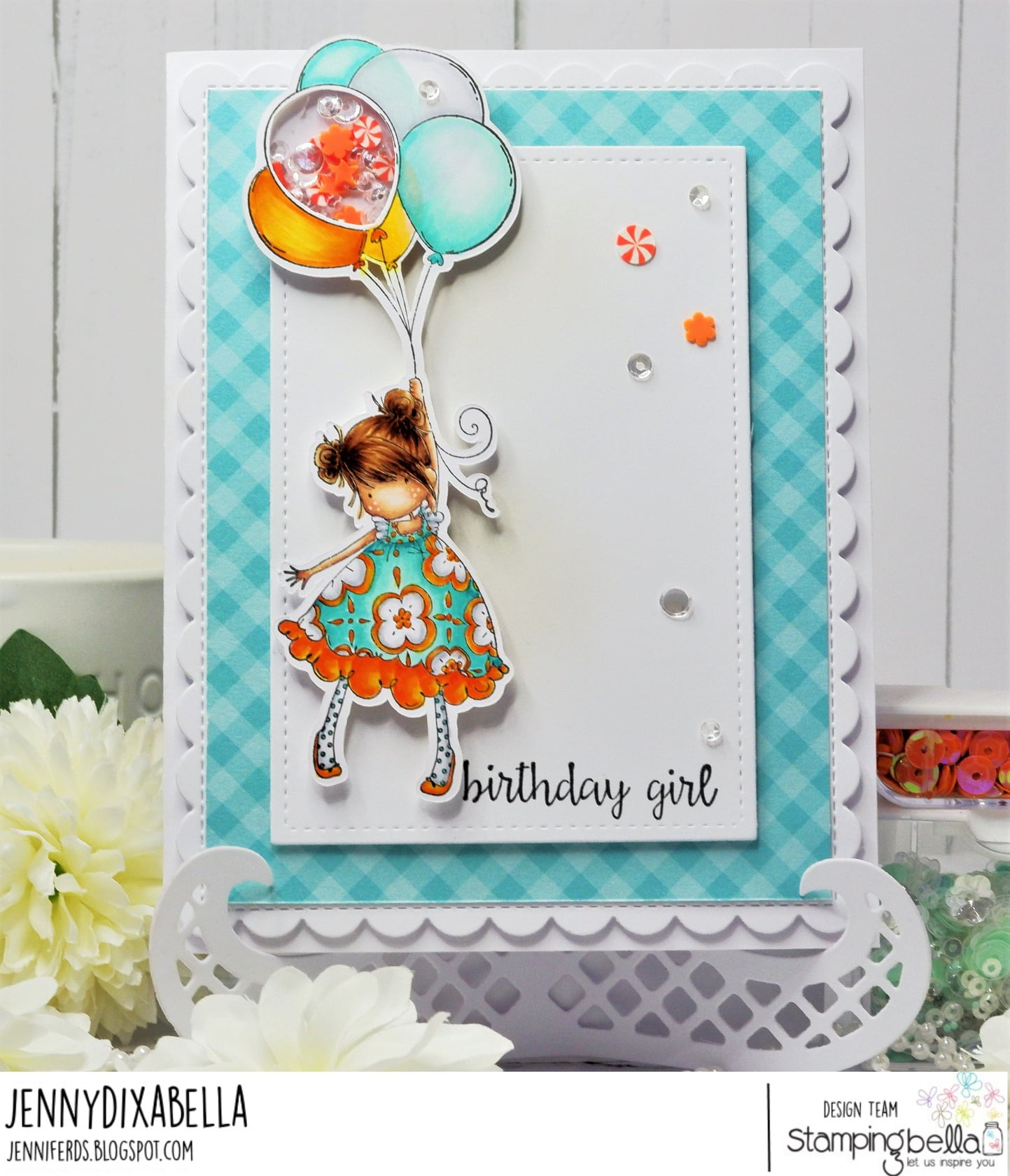 www.stampingbella.com: rubber stamp used TINY TOWNIE BLOSSOM card by JENNY DIX