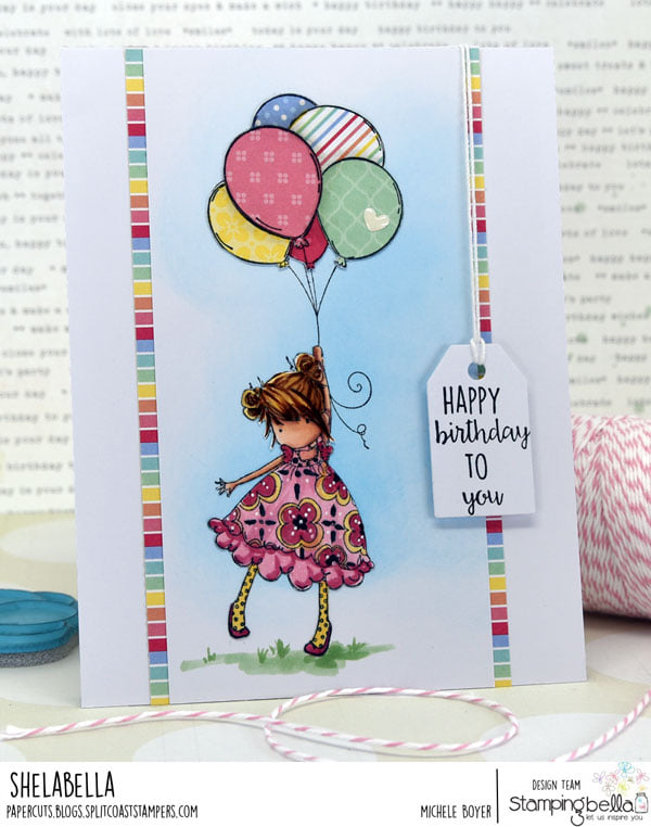 www.stampingbella.com: rubber stamp used TINY TOWNIE BLOSSOM card by Michele Boyer