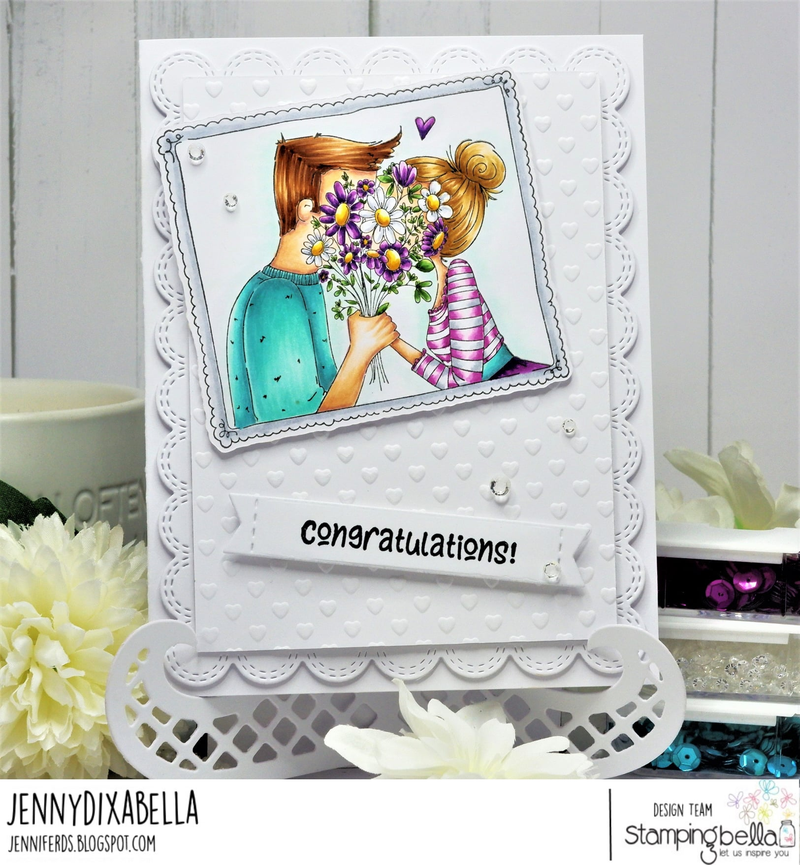 www.stampingbella.com: rubber stamp used:  CLOSEUPS IN LOVE, sentiment from CELEBRATE and CONGRATULATE rubber stamp set and card by Jenny Dix