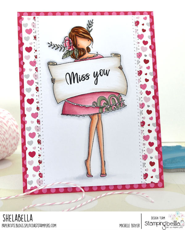 www.stampingbella.com: rubber stamp used CURVY GIRLWITH A SIGN. card by Michele Boyer