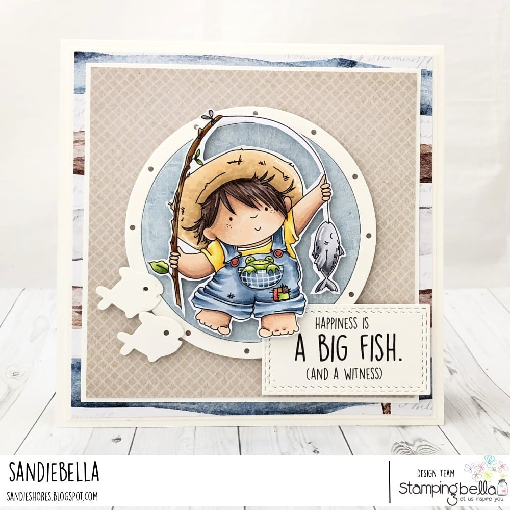 www.stampingbella.com: rubber stamp used: FISHING SQUIDGY,  card by Sandie Dunne