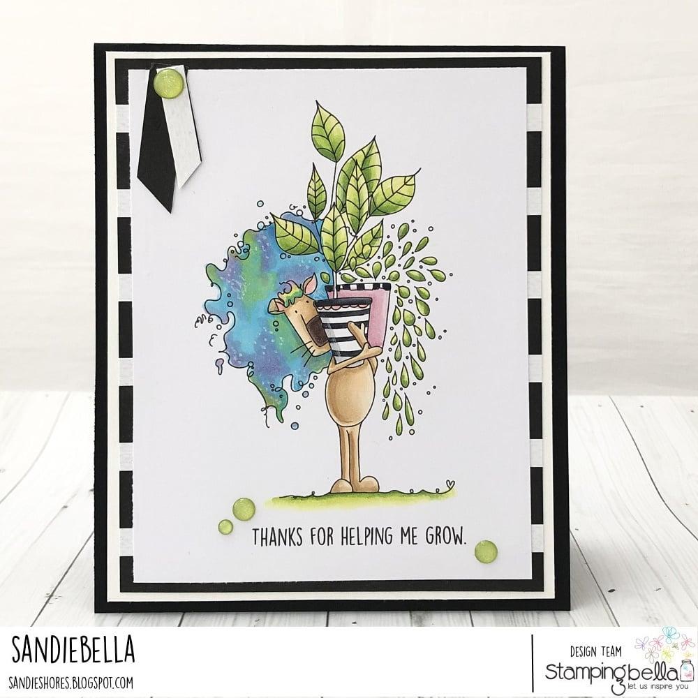 www.stampingbella.com: rubber stamp used PLANTY DANDY. card by Sandie Dunne