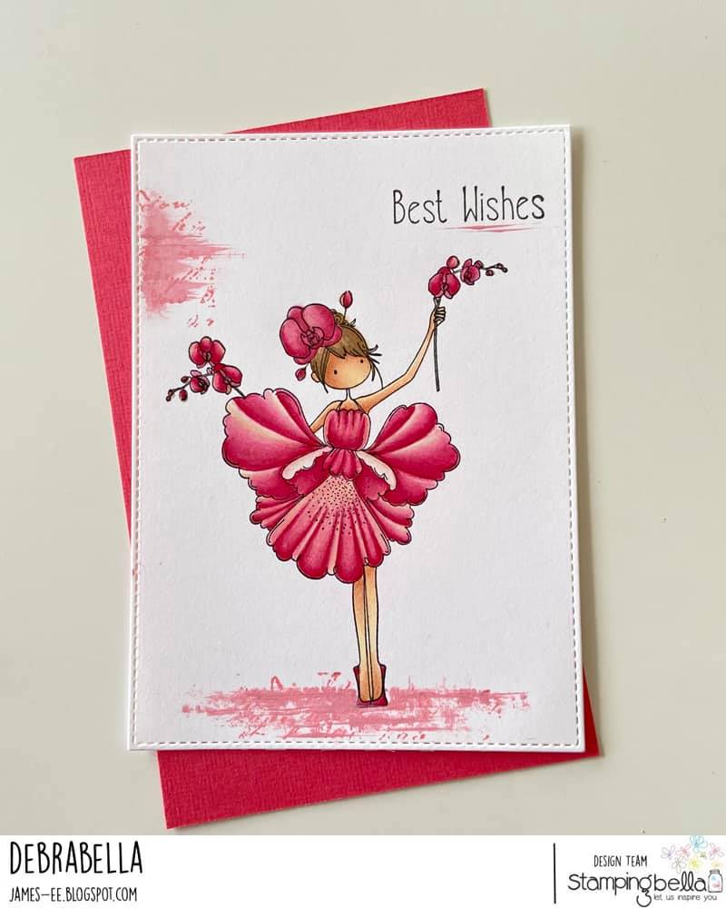 www.stampingbella.com: rubber stamp used: TINY TOWNIE GARDEN GIRL ORCHID, card by DEBRA JAMES